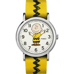 Timex × Peanuts Collaboration Weekender Charlie Brown On The Move Wrist Watch