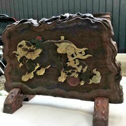 Lion Sinobi 忍 Wooden Folding Screen 51.1 Inch Wide Wood Carving Japanese Antique