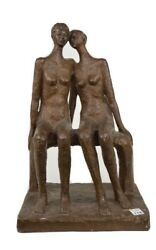 Bronze Figure Of 2 Females Sitting On A Bench 1964 Signed