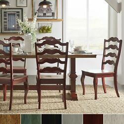 Eleanor Berry Red Farmhouse Trestle Base French Ladder Back Berry Red Chairs N/a