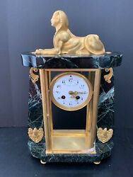 Heavy 17 High Stone And Metal Egyptian Sphinx Mantle Clock