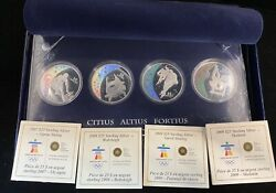 2010 Vancouver 25 Proof Winter Olympics 4 Coins Set W/ Box/coa Sterling Silver