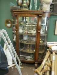 Antique Victorian Empire Oak China Cabinet Bow/curved Glass Front 69h X48w X17d