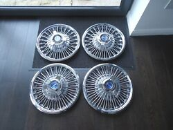 Set Of 4 Classic Ford Mustang Wire Wheel Covers For 1964 1965 Or 1966 Mustangs