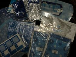 LARGE HOLIDAY GIFT WRAP PAPER LOT SNOWFLAKES BLUE SILVER BAGS BOXES TAGS NEW $21.99