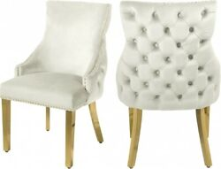 6pc Cream Velvet Side Chairs Dining Room Furniture Gold Nail Heads Button Tufted