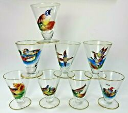 8 Vintage Hand Painted Game Bird Duck Cordial Glasses Gold Rimmed Duck Quail +