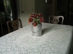 Vintage Quaker Tablecloth White Soft Ivory Oval 85 X 68 Floral Pattern