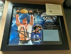 Wwe Wrestlemania 25th Anniversary John Cena Signed Plaque With Ring Mat 151/500