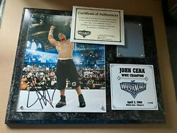 Wwe Wrestlemania 22 Xxii John Cena Signed Plaque With Ring Mat 17/300 Low