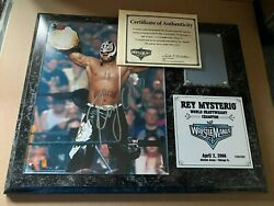 Wwe Wrestlemania 22 Xxii Rey Mysterio 619 Signed Plaque With Ring Mat 169/300