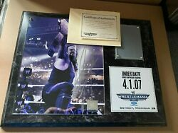 Wwe Wrestlemania 23 Xxiii Undertaker Signed Plaque With Ring Mat 25/500 Low