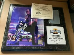 Wwe Wrestlemania 24 Xxiv Undertaker Signed Plaque With Ring Mat 164/500