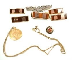 Lot Gold Filled And Silver Military Pins Warrant Officer Bars Eagle Vfw Lato Brt