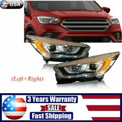 Left+right For 2017 - 2019 Ford Escape Halogen Model Headlights Headlamps Pair