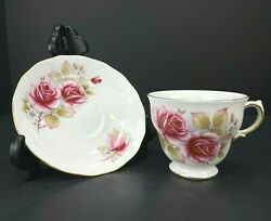 Antique Queen Anne Bone China England Rose Floral Gold Trim Tea Cup And Saucer