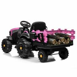 Battery Powered Kids Ride On Tractor Toy Agricultural Vehicle Rear Bucket Pink