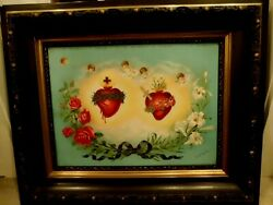 Lg Antique Jesus Christ Virgin Mary Sacred Heart Lithograph Religious Picture