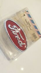 Ford Tractor 8n16600a Emblem Front Hood Grille Chrome Plate W/ Red Backround 8n