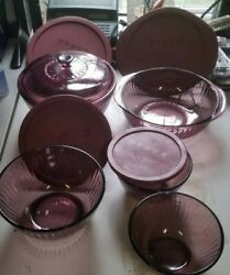 Cranberry Glass Pyrex Bowls Ribbed 7401-s7402-s7403-s 024-s - Some Lids.