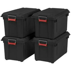 Storage Box Heavy Duty 82 Qt. Stackable Weather Tight Bins Black Pack Of 4