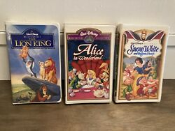 Disney Classic Vhs Lot The Lion King, Alice In Wonderland And Snow White