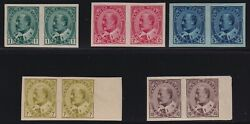 Canada Sc 89a-93a 1903 1c-10c King Edward Vii Imperforate Pairs Vf