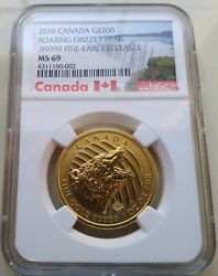 2016 Canada Rcm Call Of The Wild 200 Gold 1 Oz Roaring Grizzly Bear Ngc Ms69 Er