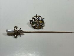 Lot Of 2 10k Solid Gold Vintage Brooch And Stick Pin Seed Pearl 2.0 G Not Scrap