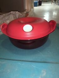 Tupperware Heat N Serve Round Bowl Microwave Container 6.25 Cup Red 5411 New