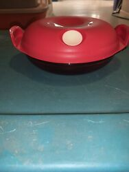 Tupperware Heat N Serve Round Microwave Container 3 Cup Bowl Red 5434 New