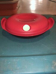 New Tupperware Heat N Serve Red Oval 5409 1.1 L 4.75 Cups Vent Lid Microwave
