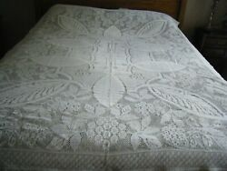 Vintage Quaker Lace Tablecloth Bed Cover White Ornate