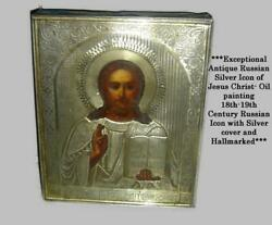 Antique Russia Christ Pantocrator Oil Painting 84 Silver Icon Signed Hallmarked.