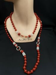 Vintage Signed Miriam Haskell Lucite And Deep Coral Color Long Beaded Necklace