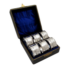 Set Of 6 Antique Victorian Sterling Silver Napkin Rings In Case - 1897