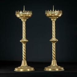 Candlesticks Pair | French Antique Gothic Gilded Brass Candle Holders | 26.2