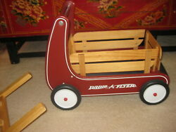 Kids Baby Red Walker Push Wagon Radio Flyer Ride On Wooden Toy Cart