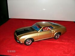 Vintage Metal 1969 Mach 1 Champagne Gold Tin Ford Mustang Japan Toy Car Battery
