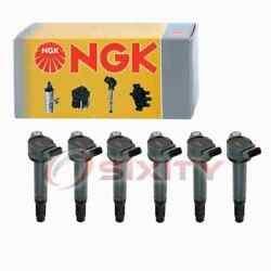 6 Pc Ngk Ignition Coils For 2017 Toyota Tacoma 3.5l V6 Spark Plug Wire Boot Qy