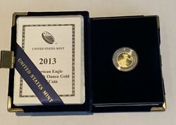 2013 W American Eagle 5 1/10 Oz. Proof Gold Coin With Box And Coa One Tenth Ounce