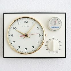 Hettich Wall Clock Kitchen Timer Vintage Thermometer 4 Jewels Restored Germany