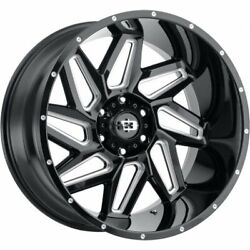4- 20x10 Black Milled Vision Spyder 6x5.5 -25 Wheels Terrain Attack At A Tires