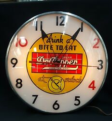 Vintage Pam Drink A Bite To Eat Drink Dr. Pepper Round Wall Clock