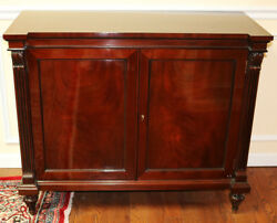 Gorgeous Flame Mahogany Two Door Side Entertainment Console Buffet Cabinet