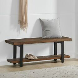 Carbon Loft Lawrence Reclaimed Wood Bench With Shelf Brown Farmhouse, Rustic
