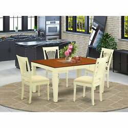 Kitchen Table Set With A Table And Linen Fabric Chairs - White Wepl5-bmk-c
