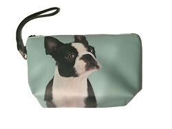 NEW Boston Terrier French Bulldog Cosmetic Case Wristlet TEAL 8Lx5Hx3D
