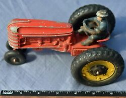 Vintage Hubley 6 5/8 Long Red Farm Tractor With Driver From The 1920-1950's