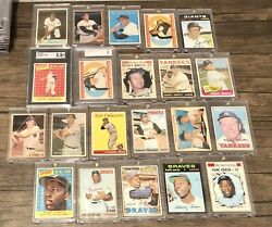 Mickey Mantle Willie Mays Hank Aaron Roberto Clemente Ted Williams Lot 1950s-70s